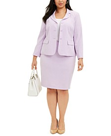 Plus Size Three-Button Skirt Suit