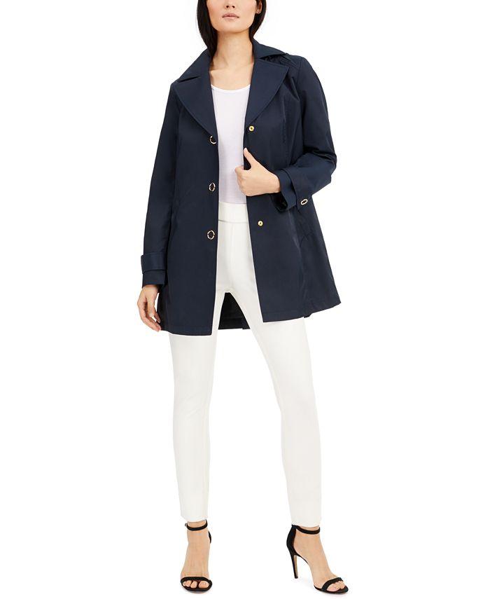 Anne Klein - Water-Resistant Hooded Raincoat