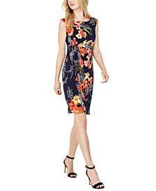 Petite Tropical-Print Side-Ruched Sheath Dress