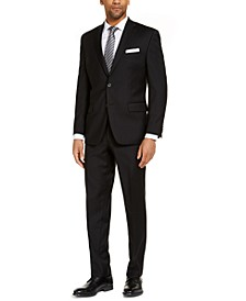 CLOSEOUT! Men's Classic-Fit Airsoft Stretch Black Solid Suit Separates