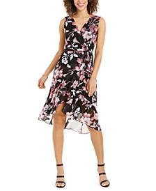 Petite Floral-Print Flounce Dress