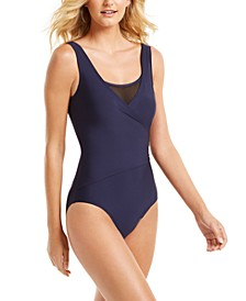 Mesh Surplice Tummy Control One Piece Swimsuit, Created for Macy's