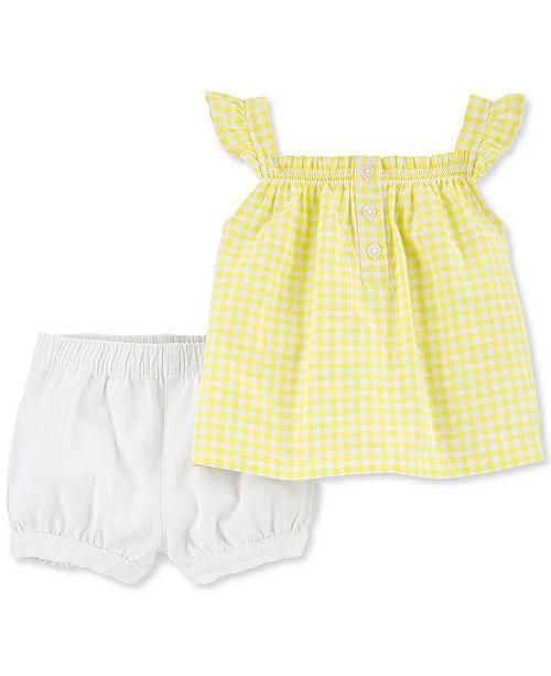 Carter's Baby Girls 2-Pc. Yellow Top & Bloomer Shorts Set
