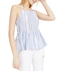 Juniors' Printed Peplum Top