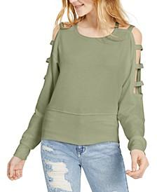 Juniors' Caged Cold-Shoulder Sweatshirt
