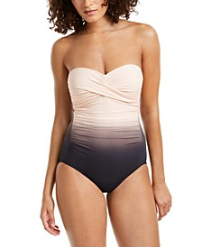 Ombré Twist Tummy-Control Bandeau One-Piece Swimsuit