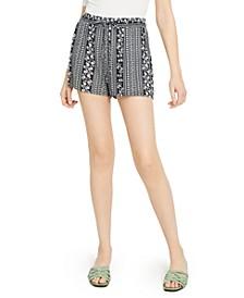 Juniors' Floral-Print Drawstring-Waist Shorts