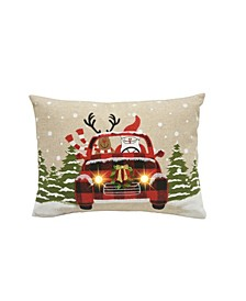Snowy Car By Santa Light up Christmas Pillow