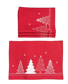 Lovely Christmas Tree Embroidered Double Layer Placemats - Set of 4