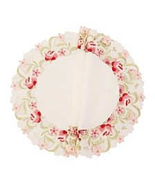 Lush Rosette Embroidered Cutwork Round Placemats - Set of 4