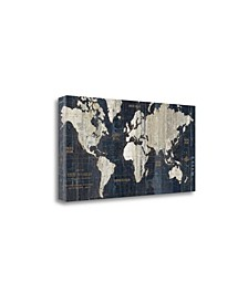 Old World Map Blue by Wild Apple Portfolio Giclee on Gallery Wrap Canvas