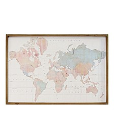 "Stratton Home Decor Watercolor World Map Print Wall Art, 44"" x 30"""