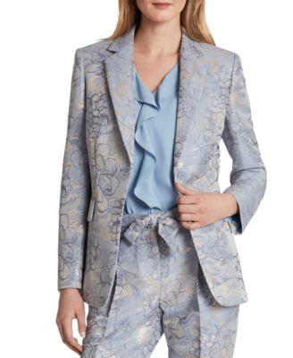 Plus Size Winter Black Gray Blazer Floral Pants No Closures Suit Set 1X 2X 3X