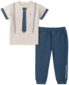 Baby Boys 2-Pc. Suspend & Necktie T-Shirt & Pants Set