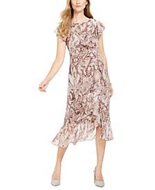 Ruffled Snake-Embossed Midi Dress