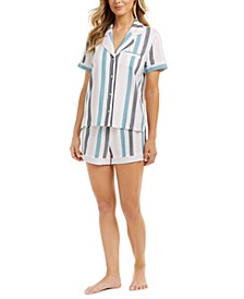 Women's Striped Pajama Shorts Set, Created for Macy's