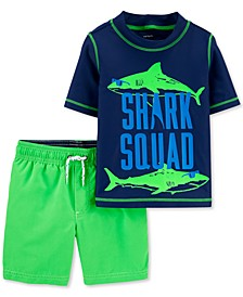 Baby Boys 2-Pc. Shark Squad Rash Guard Set