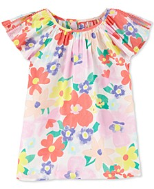 Little & Big Girls Floral-Print Poplin Top