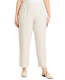 Plus Size Straight-Fit Silk Pull-On Pants