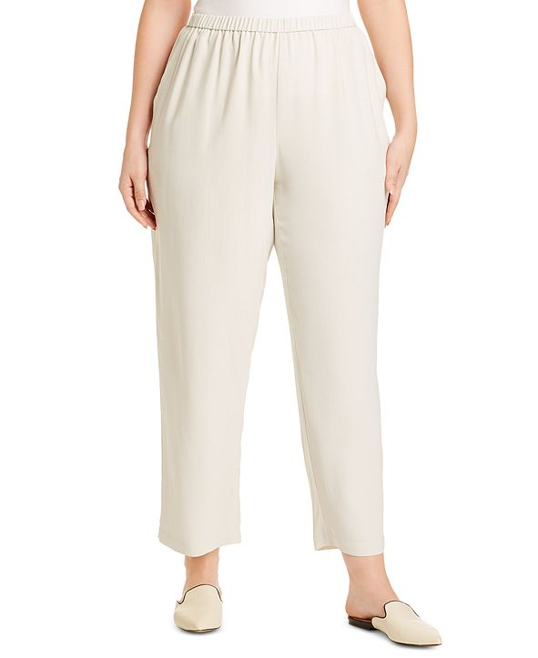Eileen Fisher Plus Size Straight-Fit Silk Pull-On Pants