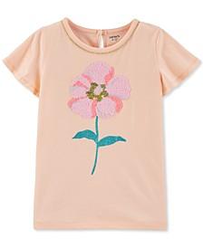 Little & Big Girls Sequin Flower-Print Cotton T-Shirt
