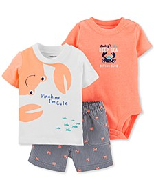 Baby Boys 3-Pc. Cotton Crab Bodysuit, T-Shirt & Shorts Set
