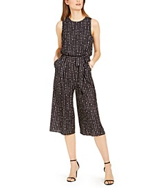 Dot-Print Cropped Jumpsuit