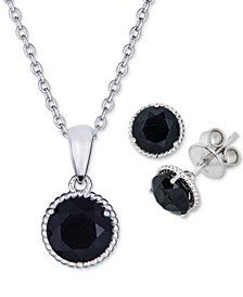2-Pc. Set Onyx Pendant Necklace & Matching Stud Earrings in Sterling Silver