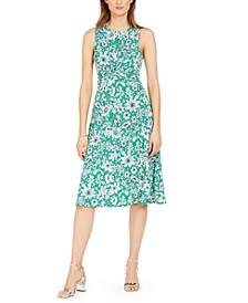 Twist-Knot Floral-Print Midi Dress