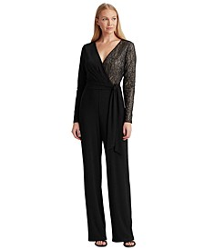 Lace-Trim Surplice Jumpsuit