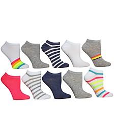 Women's 10-Pk. Striped Low-Cut Socks
