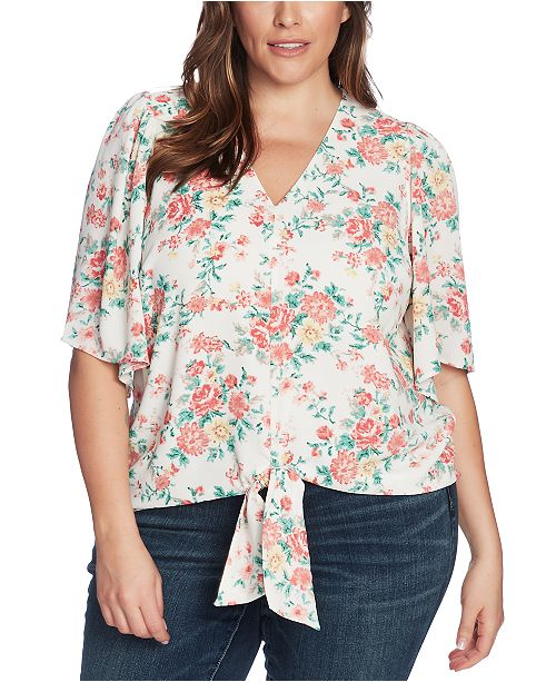 1.STATE Trendy Plus Size Floral-Print Tie-Front Top