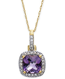 10k Gold Necklace, Amethyst (4-1/10 ct. t.w) and Diamond Accent Pendant