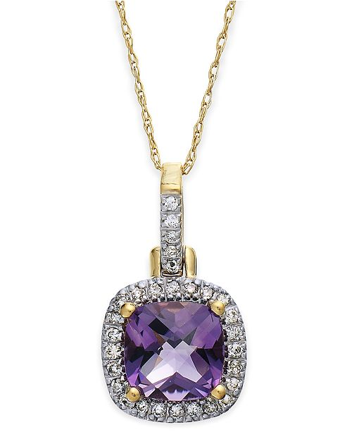 Macy's 10k Gold Necklace, Amethyst (4-1/10 ct. t.w) and Diamond Accent Pendant