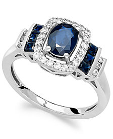 Sapphire (1-3/8 ct. t.w.) and Diamond (1/5 ct. t.w.) Ring in 14k White Gold