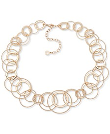 "Gold-Tone Multi-Ring Collar Necklace, 16"" + 3"" extender"