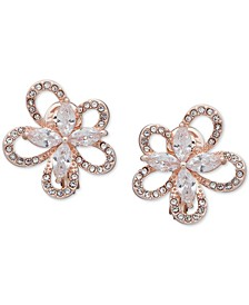 Crystal 3D Flower Clip-On Button Earrings
