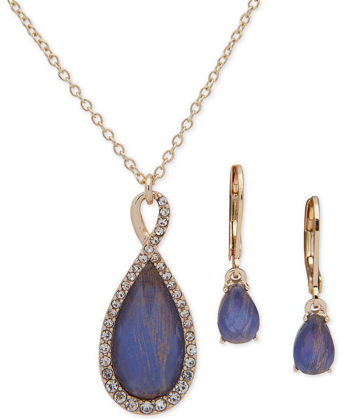Anne Klein - Pavé & Stone Pendant Necklace & Drop Earrings Set