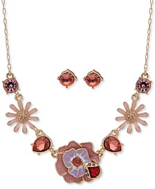 """Gold-Tone Pink Crystal Earrings & Frontal Necklace Set, 16"""" + 3"""" extender, Created for Macy's"""
