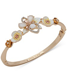 Gold-Tone Crystal, Stone & Mother-Of-Pearl 3D Flower Bangle Bracelet