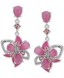 Silver-Tone Crystal & Stone 3D Flower Linear Drop Earrings