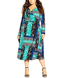 Trendy Plus Size Patchwork-Print Midi Dress