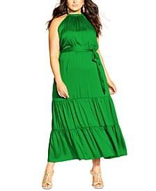 Trendy Plus Size Halter Satin Maxi Dress