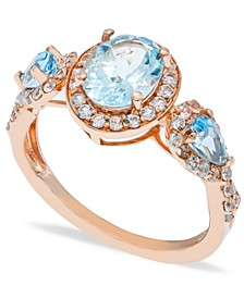 Aquamarine (1-1/2 ct. t.w.) Diamond (1/2 ct.  t.w.) Ring in 14K Rose Gold