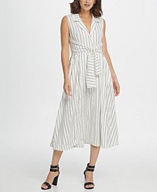 Striped Tie Waist Sleeveless Shirtdress