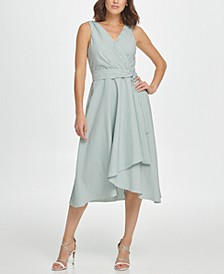 Sleeveless Double-V Faux Wrap Dress W/ Belt