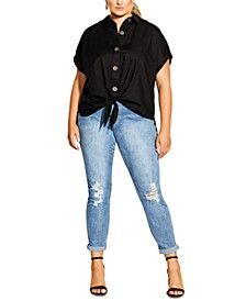 Trendy Plus Size Explore Cotton Button-Up Shirt