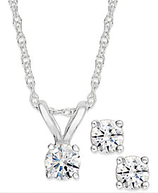 Diamond Pendant Necklace and Earrings Set in 10k White or Yellow Gold (1/10 ct. t.w.)