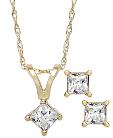 Princess-Cut Diamond Pendant Necklace and Earrings Set in 10k White or Yellow Gold (1/6 ct. t.w.)
