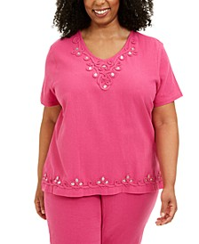 Plus Size Cotton Laguna Beach Appliqué Top